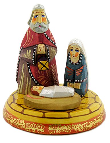 Nativity Set for Christmas Indoor Decoration Wooden Russian Hand Painted 4 1/2 Inches