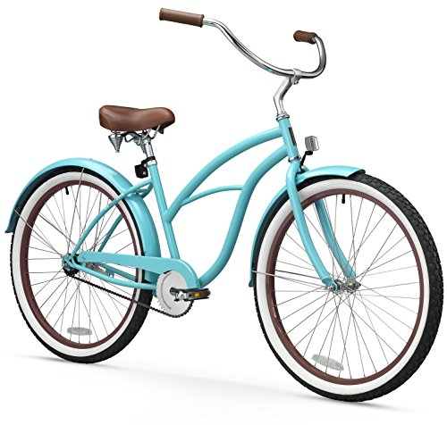 sixthreezero Women's 1-Speed 26-Inch Beach Cruiser Bicycle, Teal Blue w/ Brown Seat/Grips