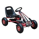 HOMCOM Vélo et véhicule pour Enfants Kart à pédales siège réglable, Roues gonflables et Frein à Main Acier Plastique Rouge et Noir
