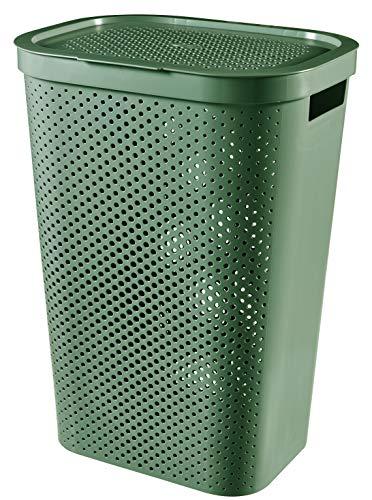 CURVER Wäschekoffer, 60 l, Infinity Dots – Recycelter Kunststoff, Wäsche, Trockner, Wäschekorb, grün, L