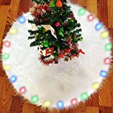 BIGOU Christmas Tree Skirt with LED Light, 30 Inch 2 Modes Snow White Luxury Faux Fur Tree Skirts Base Cover Floor Mat Christmas Lighting Decorations for Xmas Party Holiday Home Garden