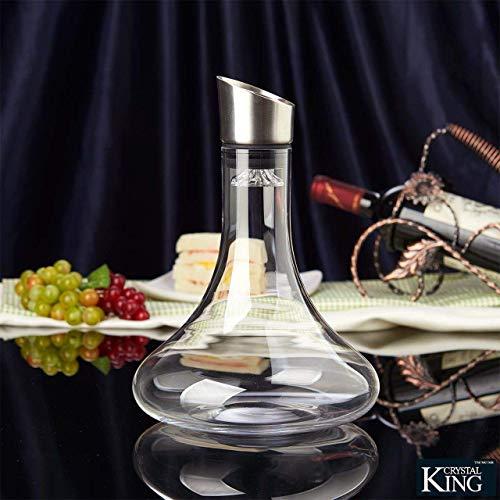 Crystalline King - Decanter per vino in cristallo con aeratore, vetro