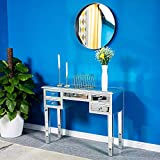 VINGLI Mirrored Makeup Vanity Desk Mirrored Console Table with 5 Storage Drawers for Entryway/Foryer/Bedroom, Silver