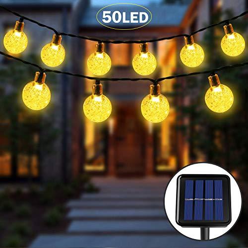 Luce Stringa Solare,50 LED 8 Modalit Luci di Cristallo Decorative a Sfera Decorative in Cristallo...