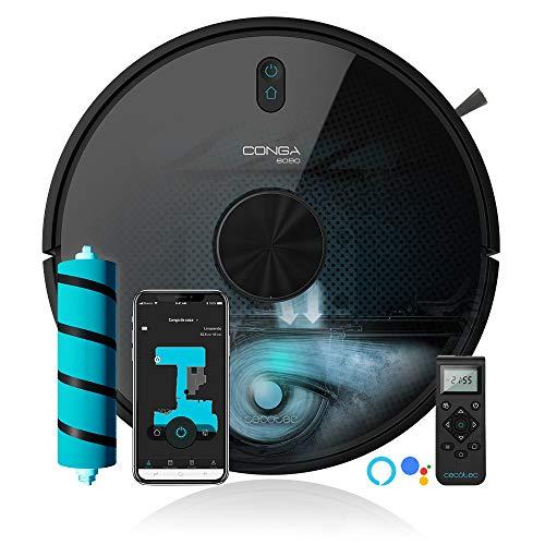 Cecotec Robot Aspirador y fregasuelos Conga 6090 Ultra. Láser, Potencia succión 10000 Pa, App, Sensor Óptico, Virtual Voice, 10 Modos Limpieza