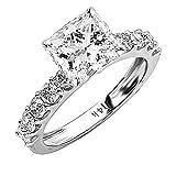 2 Carat Platinum Classic Side Stone Prong Set GIA Certified Princess Cut Diamond Engagement Ring w/a...