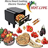 Hot Life Small Electric Tandoor with Pizza Cutter,Recipe Book,Grill & Skewers, Safety Glove,Nonstick Sheet,Aluminium Trey + 3 Year Warranty (Small)