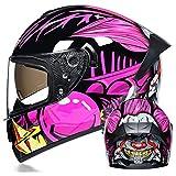 Men's and Women's Motorcycle Full Helmet Double Lens Electric Motorcycle Helmet Off-Road Helmet Four Seasons General DOT Engineering Certification,Pink Clown (Transparent),S