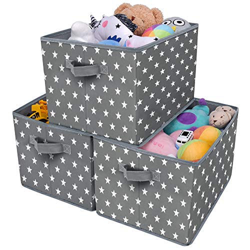 GRANNY SAYS Kid's Fabric Storage Bin Toy Storage Basket, Nursery Storage Closet Organizer Bins, Cute Star Pattern, Dark Gray, 3-Pack