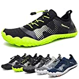 Water Shoes for Men and Women Quick-Dry Aqua Sock Outdoor Athletic Sport Shoes for Kayaking,Boating,Hiking,Surfing,Walking (A-Black/Green, 45)