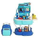 Rubyu-123 2 en 1 Juguetes de Médicos, 31 Piezas Doctora Enfermera Kit Accesorios Juegos de rol, Mochila Juegos de Imitación para 3 4 5 6 Años Niños Niñas