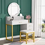 Tribesigns Vanity Set with Lighted Mirror, Modern Makeup Table with Drawers and Stool, Elegant Dressing Table for Women and Girls (White + Gold)