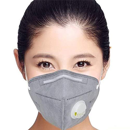 Maschere anti-polution FFP2 con respiratore a valvola, maschera anti-polvere e anti-fumo, filtro efficace al 98%, per costruzioni esterne, vernice, giardinaggio (5 pezzi)