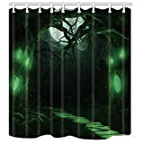 JOOCAR Rideau de douche design Halloween - Motif toile d'araignée verte - Avec crochets