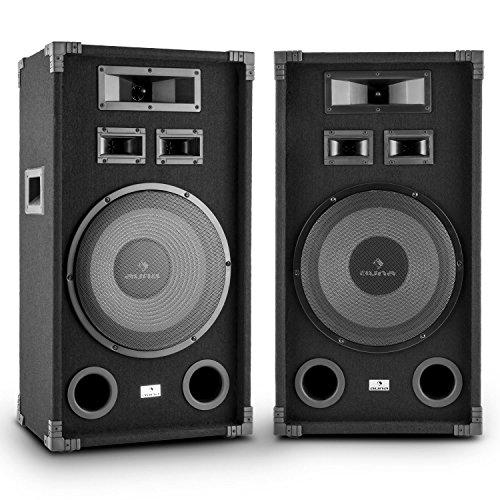 Auna PA-1200 PA-Lautsprecherbox 2er Set robustes Fullrange PA-Boxen Paar (1000 Watt max, je 30cm (12 Zoll) Tieftöner, Bassreflex, Tragegriffe) schwarz