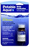 Potable Aqua Water Purification Treatment - Portable Drinking Water Treatment for Camping, Emergency Preparedness, Hurricanes, Storms, Survival, and Travel (50 Tablets), Black, single pack
