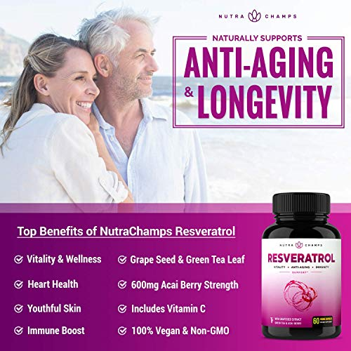 Resveratrol Supplement - Extra Strength 1400mg Formula for Healthy Aging, Immune Support & Heart Health - 60 Vegan Capsules with Trans-Resveratrol, Green Tea Leaf, Acai Berry & Grape Seed Extract 4