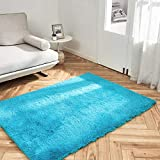 OhGeni Machine Washable 4x5.3 Feet Area Rug for Bedroom, Living Room, Dorm Room, Fluffy Soft Faux Fur Rugs Non-Slip Floor Carpet, Kids Nursery Modern Home Decor Blue