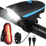 OMERIL Eclairage Vélo Etanche, Lumière Vélo Arrière 5 Modes et Lampe LED Avant 3 Modes Puissante USB Rechargeable avec Sonnette 120dB pour Cyclysme,VTT,VTC,Bicylette