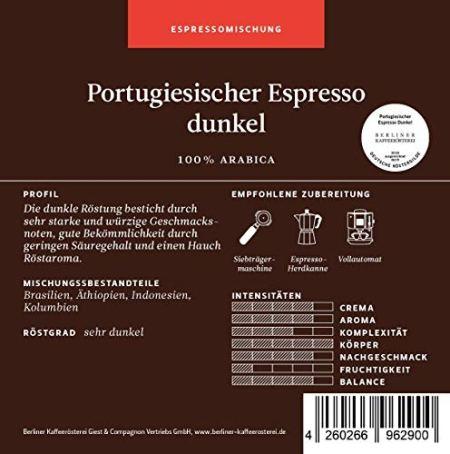 Berliner Kaffeerösterei Portugiesischer Espresso Arabica Mischung