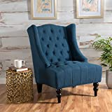 Christopher Knight Home Clarice | Tall Wingback Fabric Accent Chair | Perfect For Living Room, Dark Blue