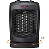HOME-CHOICE Small Ceramic Oscillating Space Heater Electric Portable Heater Fan For Home Office Desktop with Adjustable Thermostat Control,750W/1500W - Rotates 60°