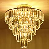 MonDaufie Crystal Chandelier 10 Lights Dimmable Gold Crystal Chandelier Semi Flush Mount Ceiling Light Fixture for Living Room Dining Room Bedroom Bathroom, H20.5'' x D20''
