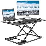 VIVO Black Ultra-Slim Single Top Height Adjustable 31 inch Standing Desk Converter, Compact Sit Stand Desktop Riser for Monitor or Laptop, DESK-V000I
