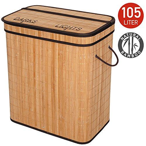 Tatkraft Wäschekorb, Bambus, Beige, 105 l