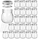 KAMOTA Mason Jars 10 oz With Regular Lids and Bands, Ideal for Jam, Honey, Wedding Favors, Shower Favors, Baby Foods, DIY Magnetic Spice Jars, 24 PACK, 30 Whiteboard Labels Included