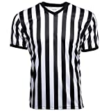 Murray Sporting Goods Men's Official Uniform Black and White Stripe Pro-Style V-Neck Referee Shirt, Officiating Jersey for Basketball, Football, Volleyball (XX-Large)