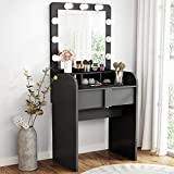 TribesignsVanity Table Setwith Lighted Mirror,Makeup Vanity Dressing Tablewith 9 Cool Light Bulb, ModernDressing Table Dresser Deskwith Drawers for Bedroom, Stool not Included (Black)