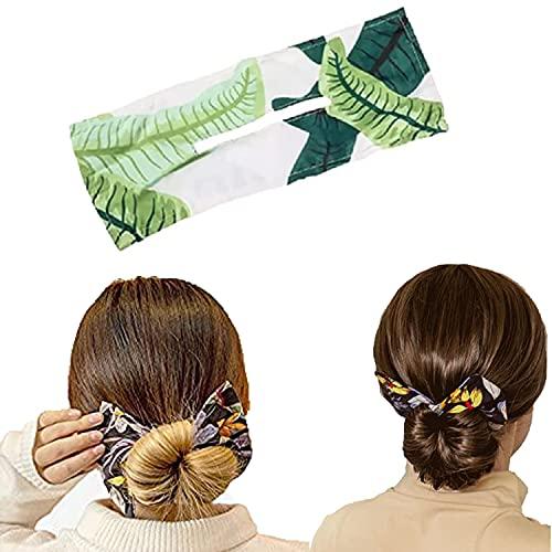 Deft Bun, Deft Bun para el cabello, Donut Hair Bun Maker, Moda para mujer, Cintas para el cabello, Cuerda para el cabello, Verano, Diadema de alambre anudado, Estampado, Horquilla, Peinado con giro fr