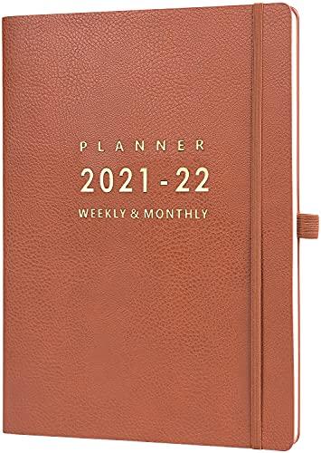 Eono by Amazon - Agenda 2021, Agenda A4 Week to View, 2021 Enero - Diciembre Planificador con funda de cuero marrón, cierre elástico, bolsillo trasero, 21,7 x 28,3 x 1,5 cm