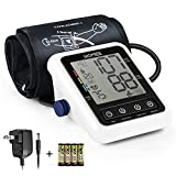Blood Pressure Monitor with AC Adapter, HOMIEE Upper Arm Blood Pressure Machine with AFIB Detection, 2 Users 240 Memories, 4' LCD Display and 9'-17' Large Arm Cuff, 4X AA Batteries Included, White