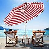 SERWALL 7.5FT Beach Umbrella UV 50+ Outdoor Portable Sunshade Umbrella with Sand Anchor, Push Button Tilt and Carry Bag for Patio Outdoor Garden Beach (Red-White Stripe)