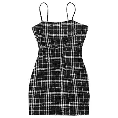 Material: Polyester ,stretchy to wear Spaghetti Strap mini dress with Plaid patern, Classic and morden The hemline ends around the thigh to flaunt your shapely legs Sexy and vintage, suit for daily wear, party wear, club wear, night out. Putting it o...