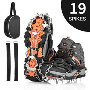 AGPTEK 19 Puntas Crampones Antideslizante, Crampones Nieve Hielo de Acero Inoxidable con Cinta Adhesiva y Bolsas, para Hombre y Mujer, XL (44-47) 12