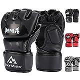 Brace Master MMA Gloves UFC Gloves Boxing Gloves for Men Women Leather More Paddding Fingerless Punching Bag Gloves for Kickboxing, Sparring, Muay Thai and Heavy Bag (Medium, Black)