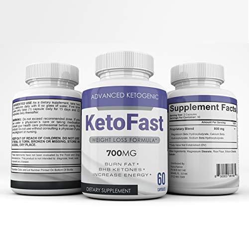 Keto Fast - Advanced Ketogenic Weight Loss Formula - 700MG - Burn Fat - BHB Ketones - Increase Energy - 60 Capsules - 3 Month Supply 1