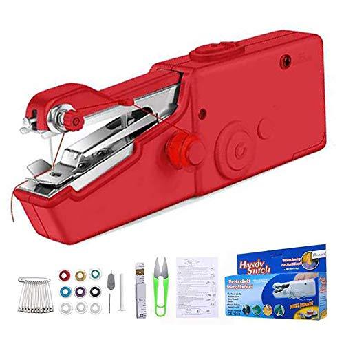 Mini Macchina Cucire Portatile, Handheld Cordless Strumento di Cucitura Rapida, Adatta per Tende in Tessuto Fai da Te e da Viaggio (Red)