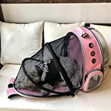 ZBHGF Ampliable Portador del Gato Mochila, Cápsula Espacial Burbuja Portador del Gato para El Pequeño Perro, Mascotas Yendo De Excursión el Morral Que Acampa,Rosado