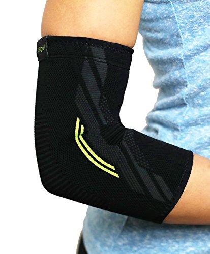 Leisegrün Ellenbogenbandage - Sport Armbandage zur Stützung der Ellenbogen beim Volleyball, Fitness. Bandage zur Entlastung bei Tennisarm. Für Damen und Herren, Links & rechts tragbar, schwarz (L)