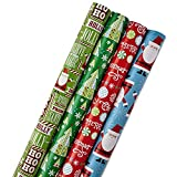 Hallmark Reversible Christmas Wrapping Paper Bundle for Kids (Pack of 4, 150 sq. ft. ttl.) Santa, Trees, Red, Blue, Green (Kitchen)