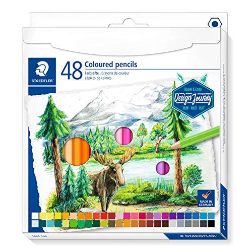 Staedtler 146C ST - Matite Colorate, Formato Classico Esagonale, Mina Morbida, Alta pigmentazione, Astuccio in Cartone con 48 matite in Colori Vivaci, 146 C48, Multicolore