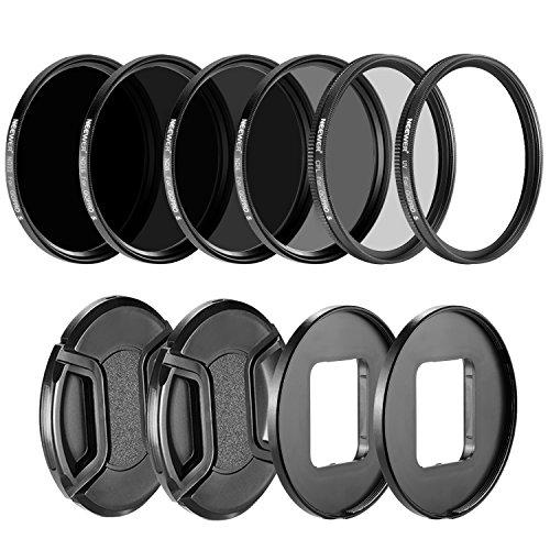 Neewer fotocamera lenti filtro kit per GoPro Hero 5: (4) Filtro neutro ND (ND4/ND8/ND16/ND32), (1) Filtro UV, (1) Filtro CPL, (2) Lens Cap, (2) obiettivo anello adattatore