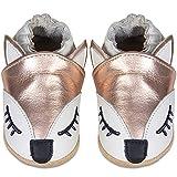 IceUnicorn Chaussons bébé en cuir souple - Chaussures pour bébé - Avec semelles en daim - Pour garçons et filles Motif renard doré (N-Gold Fox, 6-12 mois)