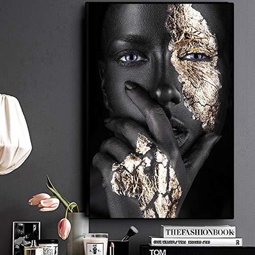 Arte africana Pittura a olio donna nera e oro su tela Poster e stampe Immagine su parete per...