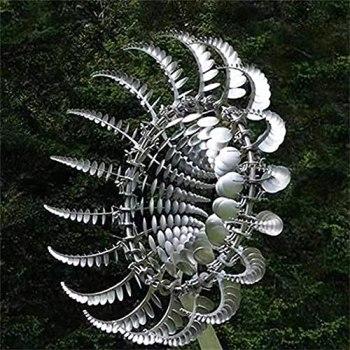 WENJIE Spinner de Moulin à Vent en métal Unique et Magique Sculpture de Moulin à Vent de pelouse détachable et décoration de Spinner extérieur Spinner à Vent en métal Silver-35 * 35cm