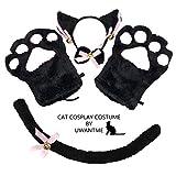 Cat Cosplay Costume Kitten Tail Ears Collar Paws Gloves Anime Lolita Gothic Set Black